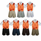 4pc Set Boy Toddler Formal Orange Vest and Necktie Black Navy Khaki Shorts S-4T