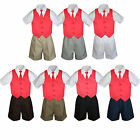 4pc Set Boy Toddler Formal Red Vest and Necktie Black Navy Khaki Shorts S-4T