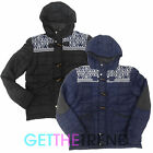 Mens Hooded Aztec Design Jacket Mens Padded Winter Hood Zip Up Jacket