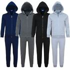 Kids Plain 2-Piece Tracksuit Fleece Hooded Top Jogging Bottoms Sizes 3-14 Years