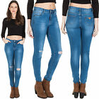 New Ladies Ripped Faded Stretchy Skinny Blue Denim Jeans Size 6 8 10 12 14 16