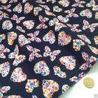 per metre/ FQ NAVY BLUE BUTTERFLY / HEART polycotton fabric dressmaking/craft