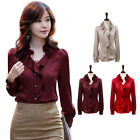 Loose Elegant OL Style Women Waves Flower Neck Long Sleeve Shirt Blouses S-XXL