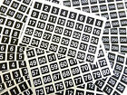 Numbering Stickers, White Numbers on Black 20mm Square Plastic Sticky Labels