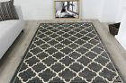 Quality Carved Trellis Modern Rugs Soft Geometric Graphite Grey Living Room Rugs