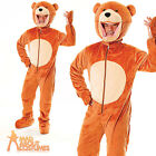 Adult Big Head Teddy Bear Costume Jungle Ted Fancy Dress Mascot Outfit