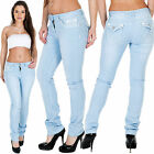 New Womens Diamante Button Straight Leg Stretchy Pants Denim Jeans 8 10 12 14 16
