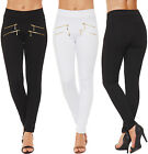 Womens Gold Zip Leggings Full Length Stretch Pants Trousers Ladies New 6-12