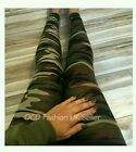 Ladies Camo Camouflage Full Length Leggings Army Print Stretch Womens Trousers