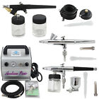 OPHIR Dual&Single-Action 3-Airbrush Kits & Air Compressor for Body Car Painting