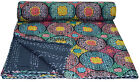 Indian Handmade Quilt Vintage Kantha Bedspread-Throw-Cotton Blanket Ralli-Gudari