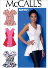 McCalls 7356 Fit & Flare V-neck Top Sleeves Sleeveless Sewing Pattern M7356