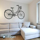 Woman's Cruiser Bicycle with Basket Vinyl Wall Decal bike...