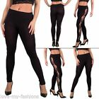 New Womens Ladies Floral Lace Side Panel Cut Out Black Leggings Size 8 10 12 S M