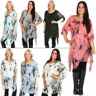 New Womens Italian Lagenlook Abstract Floral Print Flowy Tunic Dress One Size