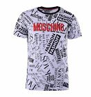 MOSCHINO T-Shirt mit Fashion Print and Logo Weiß Schwarz Black White 04438