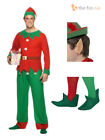 Mens Elf Costume Christmas Xmas Festive Fancy Dress Adult Seasonal Party Outfit