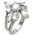 925 Sterling Silver Open Cut Flower Clear CZ Wedding Promise Glam Ring Size 3-11