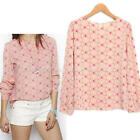 New Women Summer Pink Color Casual Printed Long Sleeves Chiffon Blouse Tops