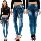 New Womens Gold Side and Waist Zipped Crinkled Denim Stone Wash Jeans 6 10 14