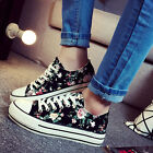 Hot Korean Women's Casual Lace Up Low Top Floral Shoes Canvas Sneakers Loafer Sz