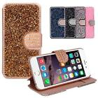 PU Leather Wallet Case Bling Crystal Raindrop Pattern Cover For iPhone 6 6S Plus