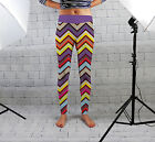 Multicoloured Chevron Print Design Womens Spandex Leggings Gym Yoga Made In Uk
