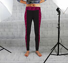 Pink Zebra Stripe Design Womens Spandex Leggings Gym Fitness Yoga Made In Uk