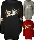 New Womens Gold Foil New York Print US Long Sleeve Ladies Sweater Dress Top 8-14