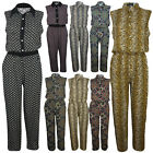 Ladies Womens Printed Collard Neck Sleeveless 2 Side Pockets Jumpsuit Playsuit
