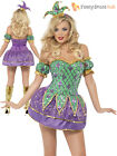 Ladies Fever Harlequin Clown Costume Adult Neon Circus Fancy Dress Jester Outfit