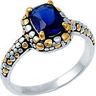 925 Sterling Silver Black Enamel Blue Sapphire CZ Engagement Love Ring Size 3-11