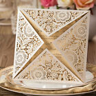 White Lace Laser Cut Wedding Invitation Cards, Free Personalized, Envelope, Seal