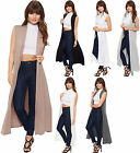 New Womens Full Length Plain Long Open Sleeveless Cape Ladies Cardigan 8-14