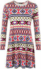 Womens Plus Long Sleeve Pink Aztec Foil Print Round Neck Top Ladies Swing Dress