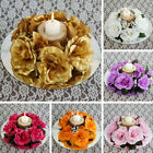 16 CANDLE RINGS with SILK ROSES Wedding Party Flowers for Centerpieces SALE