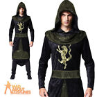 Adult Medieval Prince Costume Mens King Arthur Assasin Fancy Dress Outfit New