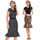 NEW Retro Mermaid Vintage 50s Style Cotton Floral Bodycon Housewife Party Dress