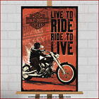 Harley Davidson Motorcycle Large Framed Canvas Art Print Live To Ride SAMCRO HD