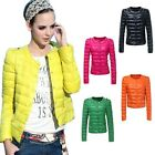 Candy Color Women Down Jacket Slim Short Winter Puff Sleeve Jacket Overcoat S-XL