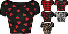New Womens Wet Look Shiny Short Sleeve Print Pattern Tartan Animal Crop Top 8-14