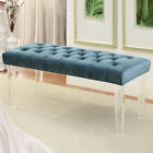 Black Blue Brown Gray Padded Flannelette Button Tufted Clear Acrylic Legs Bench