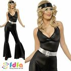 70s DISCO DIVA FEVER WATERLOO JUMPSUIT 8-18 - womens ladies fancy dress costume