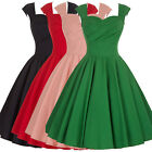 Women's Vintage Style 50s 60's Flared Evening Party Swing Housewife Casual Dress