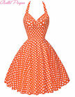 Vintage 50s 60s Halter Polka Dot Pin up Swing HOUSEWIFE Dress Party Casual CHEAP