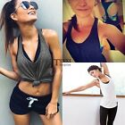Women Sexy Sleeveless Loose Sport Gym Vest Tank Tops Blouse Crop Top Shirt TXSU