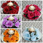 24 pcs Silk ROSES Flowers Candle Rings Wedding Tabletop Centerpieces Wholesale