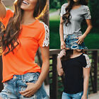Women's Ladies Summer Short Sleeve Blouse Casual Tank Tops Lace T-Shirt Shirt