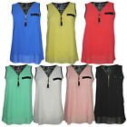 NEW WOMENS LADIES SHEER CHIFFON FRONT ZIP LAYERED CAMI VEST CROP TOP 8-14