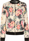 Womens Floral Flower Print Bomber Jacket Long Sleeve Zip Ladies Coat Top 8-14